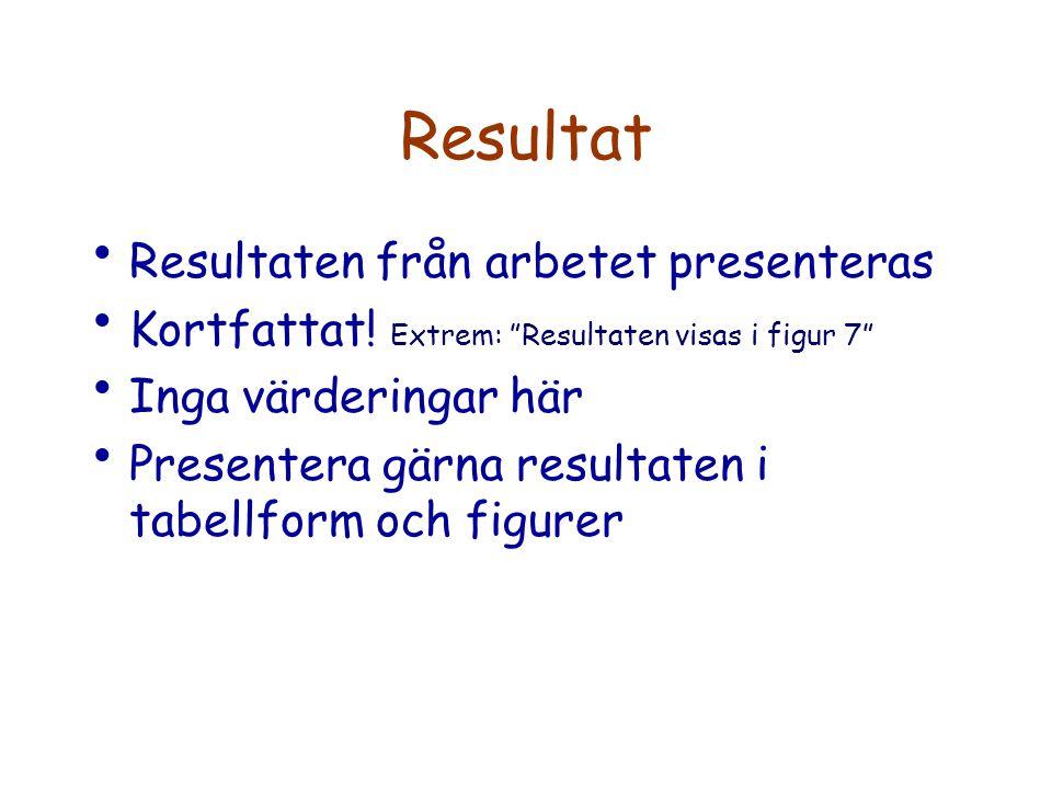 Resultat Resultaten från arbetet presenteras Kortfattat.