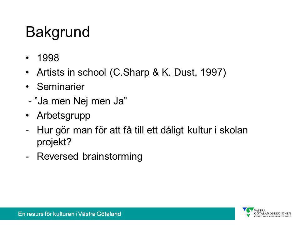 En resurs för kulturen i Västra Götaland Bakgrund 1998 Artists in school (C.Sharp & K.