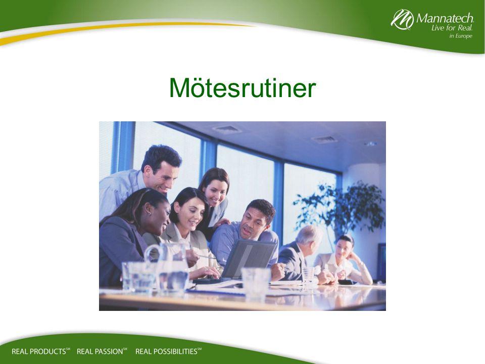 Före Mötet: –Umgås med gästerna –presentera gästerna för Upline – Edifiera Upline –Börja i tid Under Mötet: –Var engagerad – anteckna –-Visa respekt – undvik sido diskussioner Efter Mötet: Presentera dina gäster för talaren- edifiera talaren Försäkra dig om att gästerna får sin 1 kvälls informations paket Planera och boka uppföljningsmöte inom 24-48 timmar Edifiera alltid den eller Associates och Upline team som har gäster på mötet Associate Business Partner Guidelines/vägledning Syftet med möten