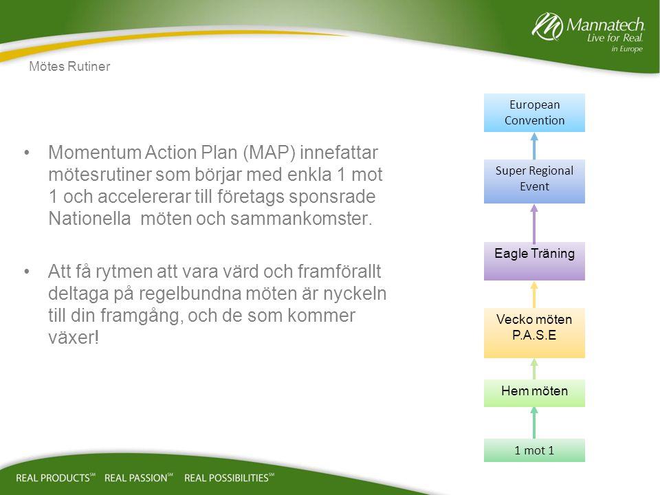 Momentum Action Plan (MAP) innefattar mötesrutiner som börjar med enkla 1 mot 1 och accelererar till företags sponsrade Nationella möten och sammankomster.
