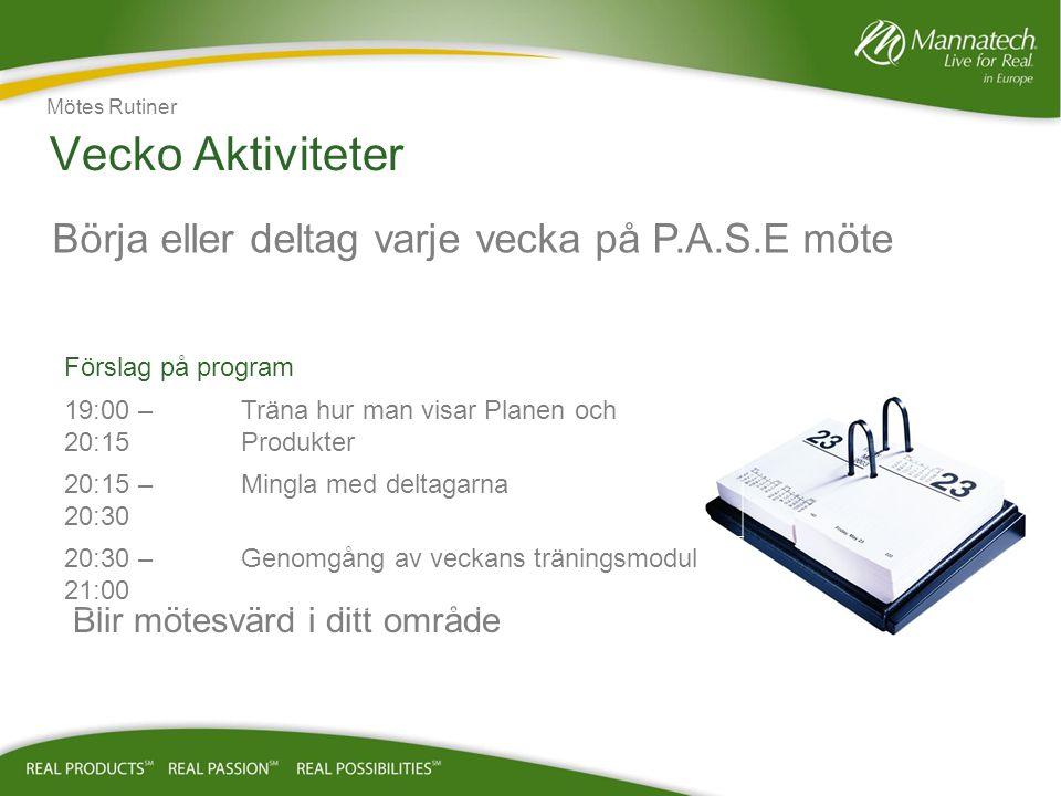 Vecko Aktiviteter Börja eller deltag varje vecka på P.A.S.E möte Mötes Rutiner Blir mötesvärd i ditt område Förslag på program 19:00 – 20:15 Träna hur