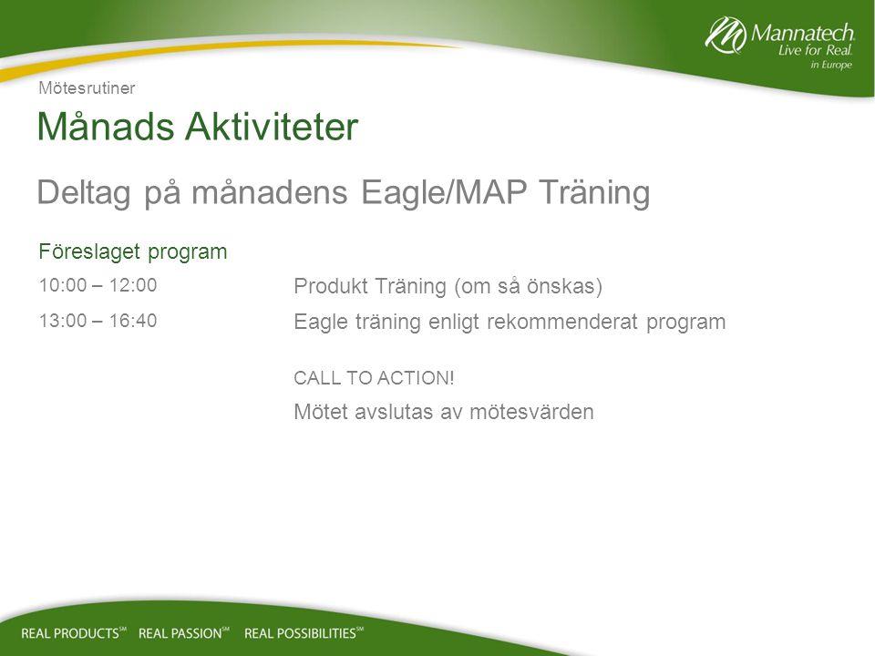 Månads Aktiviteter Deltag på månadens Eagle/MAP Träning Föreslaget program 10:00 – 12:00 Produkt Träning (om så önskas) 13:00 – 16:40 Eagle träning enligt rekommenderat program CALL TO ACTION.