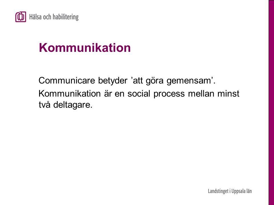 Kommunikation Communicare betyder 'att göra gemensam'. Kommunikation är en social process mellan minst två deltagare.
