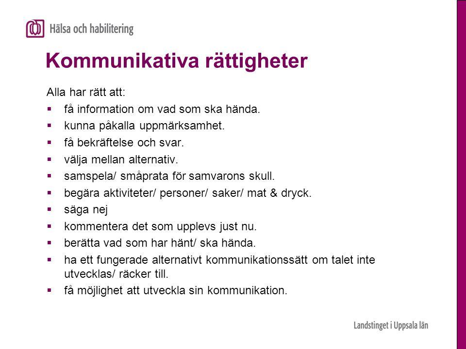 Kommunikativa rättigheter Alla har rätt att:  få information om vad som ska hända.  kunna påkalla uppmärksamhet.  få bekräftelse och svar.  välja