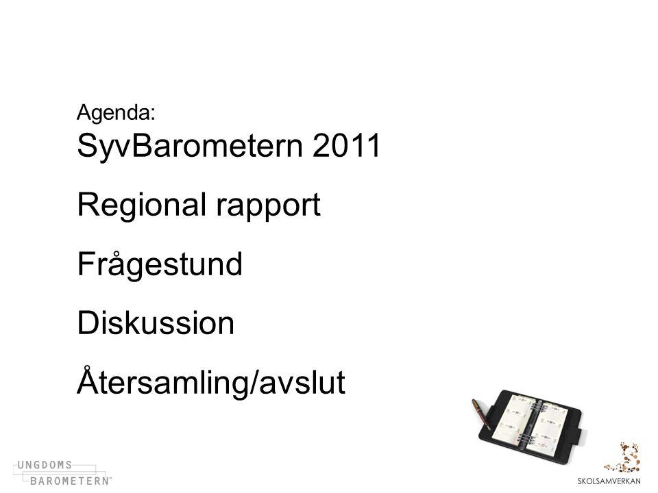 Agenda: SyvBarometern 2011 Regional rapport Frågestund Diskussion Återsamling/avslut