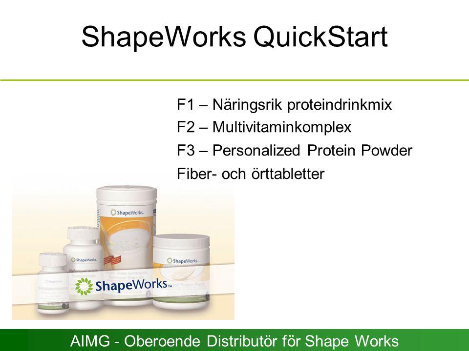 ShapeWorks QuickStart F1 – Näringsrik proteindrinkmix F2 – Multivitaminkomplex F3 – Personalized Protein Powder Fiber- och örttabletter AIMG - Oberoen