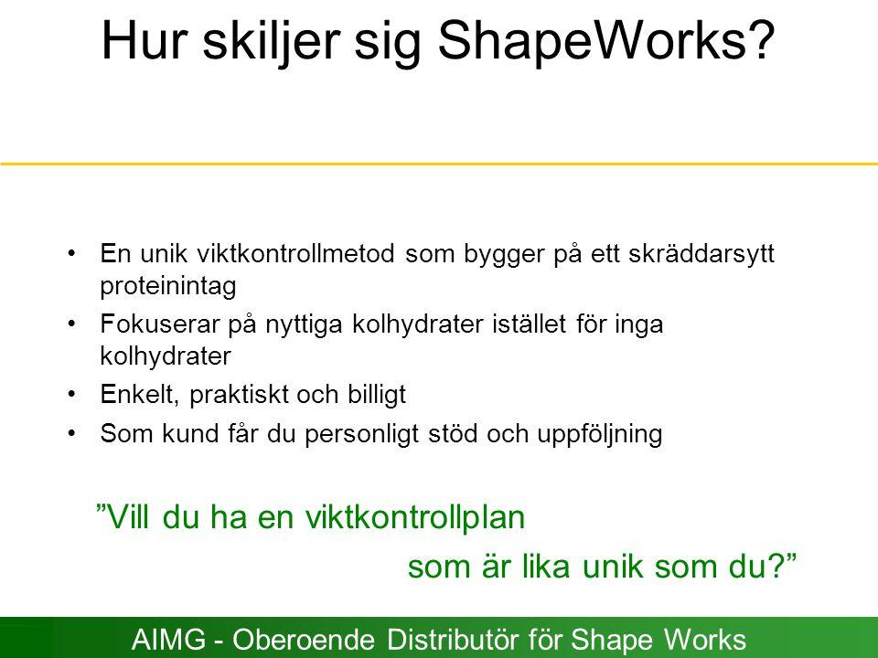 Hur skiljer sig ShapeWorks? En unik viktkontrollmetod som bygger på ett skräddarsytt proteinintag Fokuserar på nyttiga kolhydrater istället för inga k