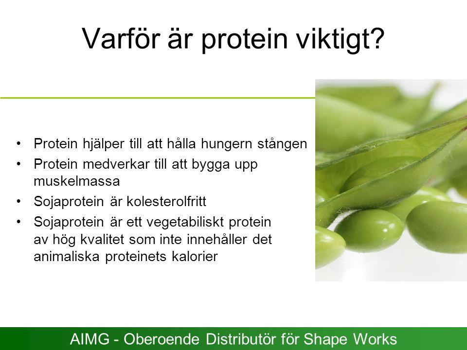 Varför är protein viktigt? Protein hjälper till att hålla hungern stången Protein medverkar till att bygga upp muskelmassa Sojaprotein är kolesterolfr