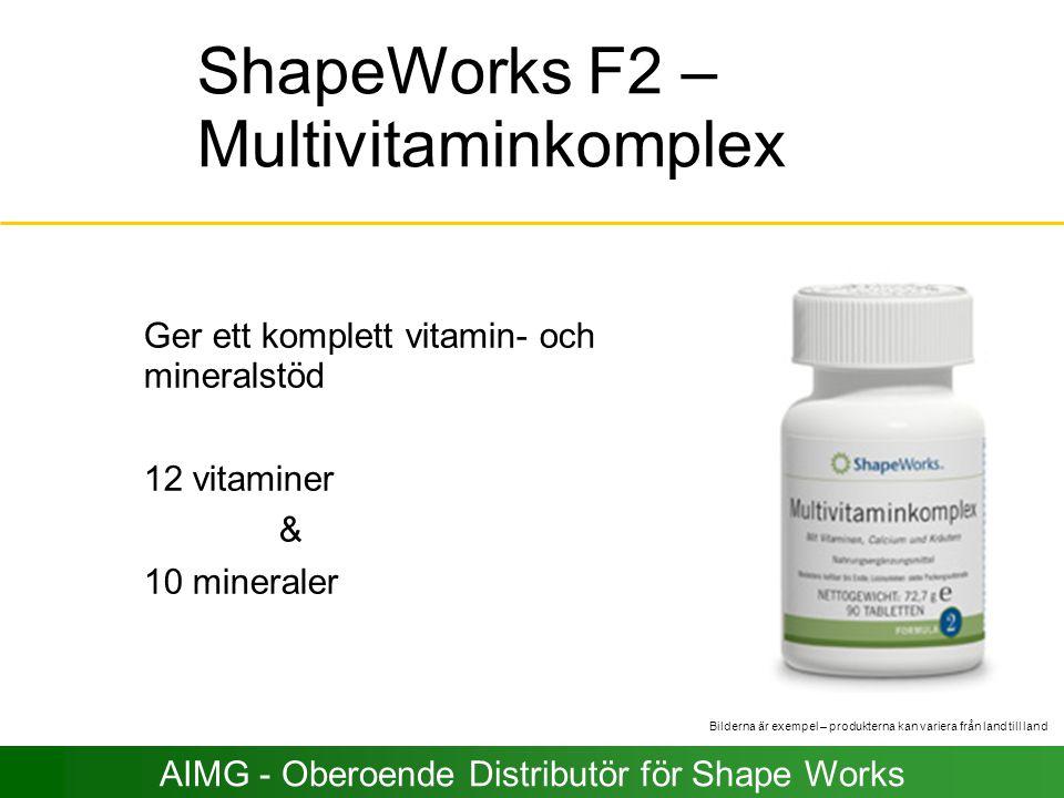 ShapeWorks F2 – Multivitaminkomplex Ger ett komplett vitamin- och mineralstöd 12 vitaminer & 10 mineraler Bilderna är exempel – produkterna kan varier