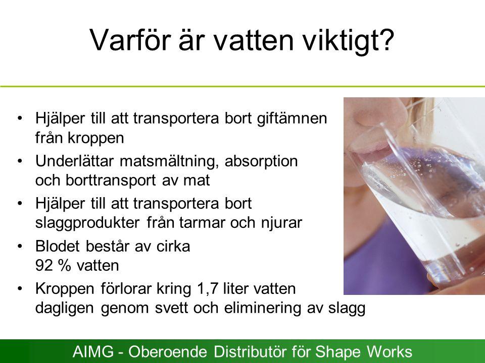 Varför är vatten viktigt? Hjälper till att transportera bort giftämnen från kroppen Underlättar matsmältning, absorption och borttransport av mat Hjäl