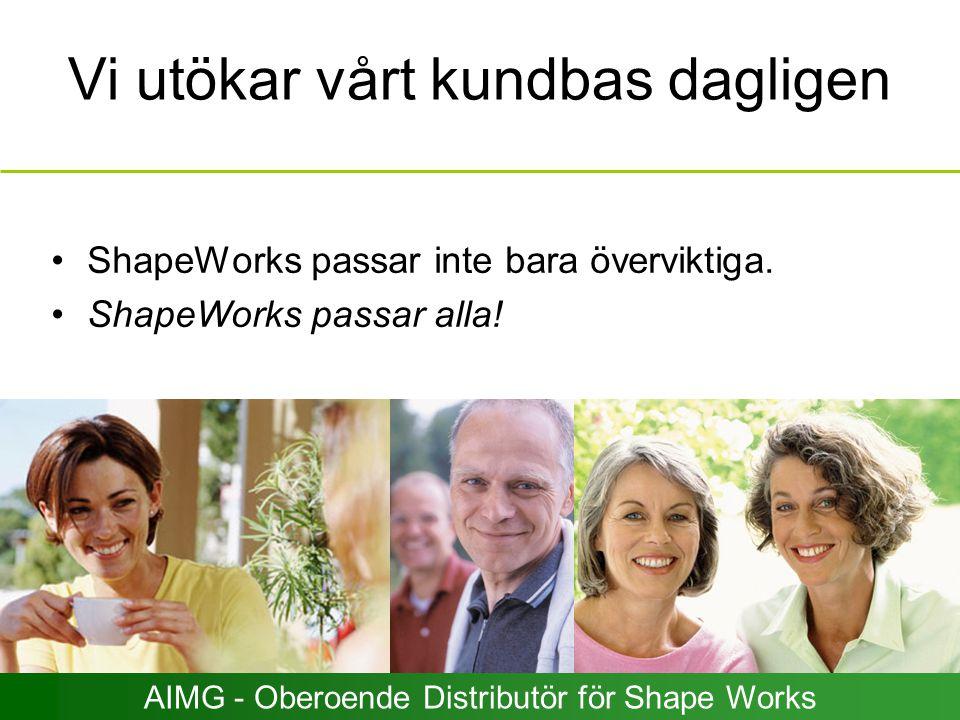 Vi utökar vårt kundbas dagligen ShapeWorks passar inte bara överviktiga. ShapeWorks passar alla! AIMG - Oberoende Distributör för Shape Works