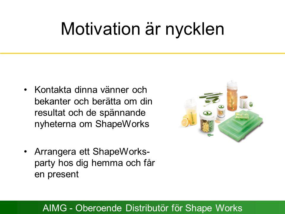 Motivation är nycklen Kontakta dinna vänner och bekanter och berätta om din resultat och de spännande nyheterna om ShapeWorks Arrangera ett ShapeWorks