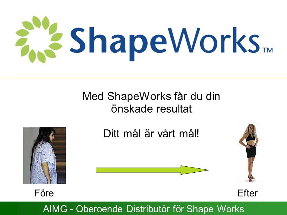 Med ShapeWorks får du din önskade resultat Ditt mål är vårt mål! AIMG - Oberoende Distributör för Shape Works FöreEfter
