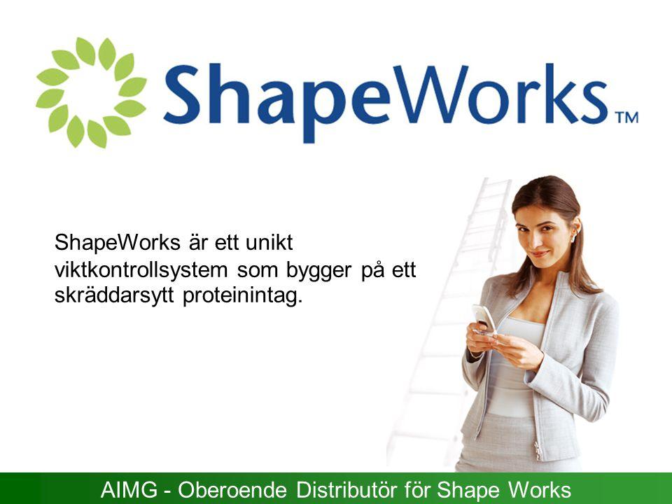 ShapeWorks är ett unikt viktkontrollsystem som bygger på ett skräddarsytt proteinintag. AIMG - Oberoende Distributör för Shape Works