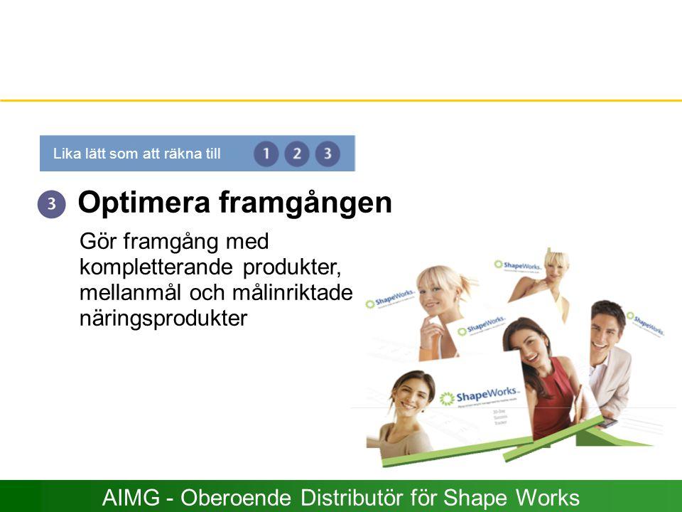 Optimera framgången Gör framgång med kompletterande produkter, mellanmål och målinriktade näringsprodukter Lika lätt som att räkna till AIMG - Oberoen