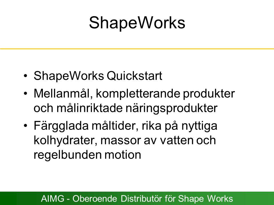ShapeWorks ShapeWorks Quickstart Mellanmål, kompletterande produkter och målinriktade näringsprodukter Färgglada måltider, rika på nyttiga kolhydrater
