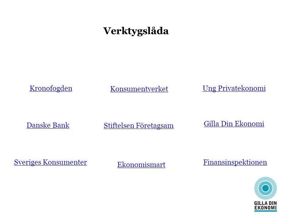 Verktygslåda KronofogdenUng Privatekonomi Konsumentverket Danske Bank Finansinspektionen Gilla Din Ekonomi Stiftelsen Företagsam Sveriges Konsumenter