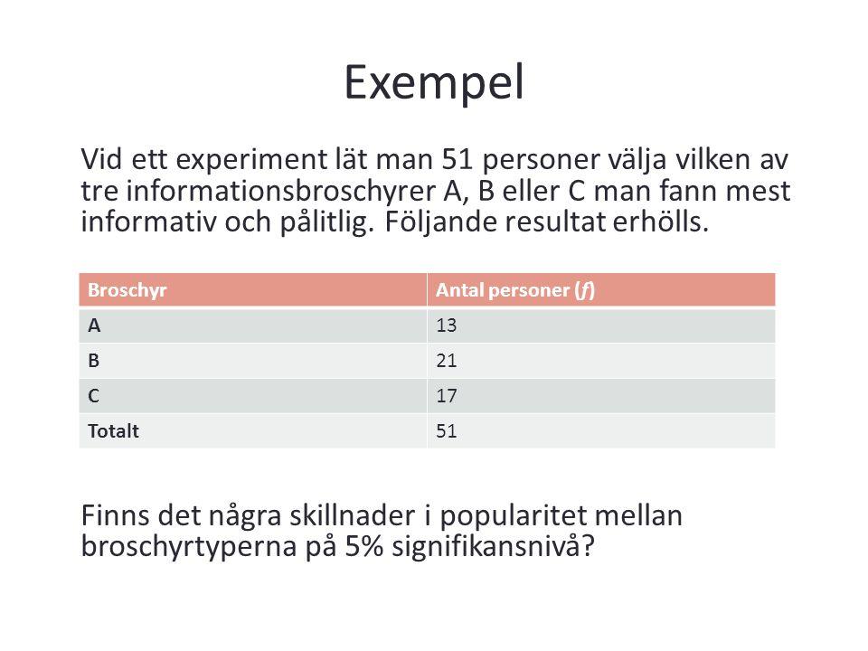 Exempel Vid ett experiment lät man 51 personer välja vilken av tre informationsbroschyrer A, B eller C man fann mest informativ och pålitlig. Följande