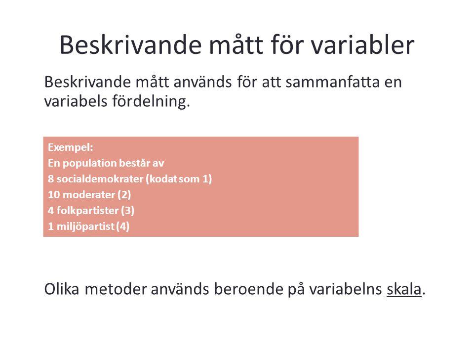 Beskrivande mått för variabler Beskrivande mått används för att sammanfatta en variabels fördelning. Olika metoder används beroende på variabelns skal