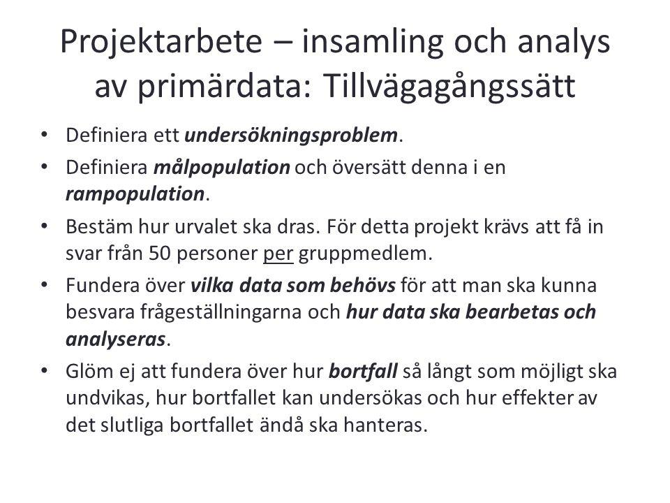 Projektarbete – insamling och analys av primärdata: Tillvägagångssätt Definiera ett undersökningsproblem. Definiera målpopulation och översätt denna i