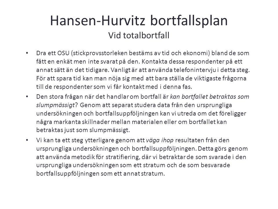 Hansen-Hurvitz bortfallsplan Vid totalbortfall Dra ett OSU (stickprovsstorleken bestäms av tid och ekonomi) bland de som fått en enkät men inte svarat