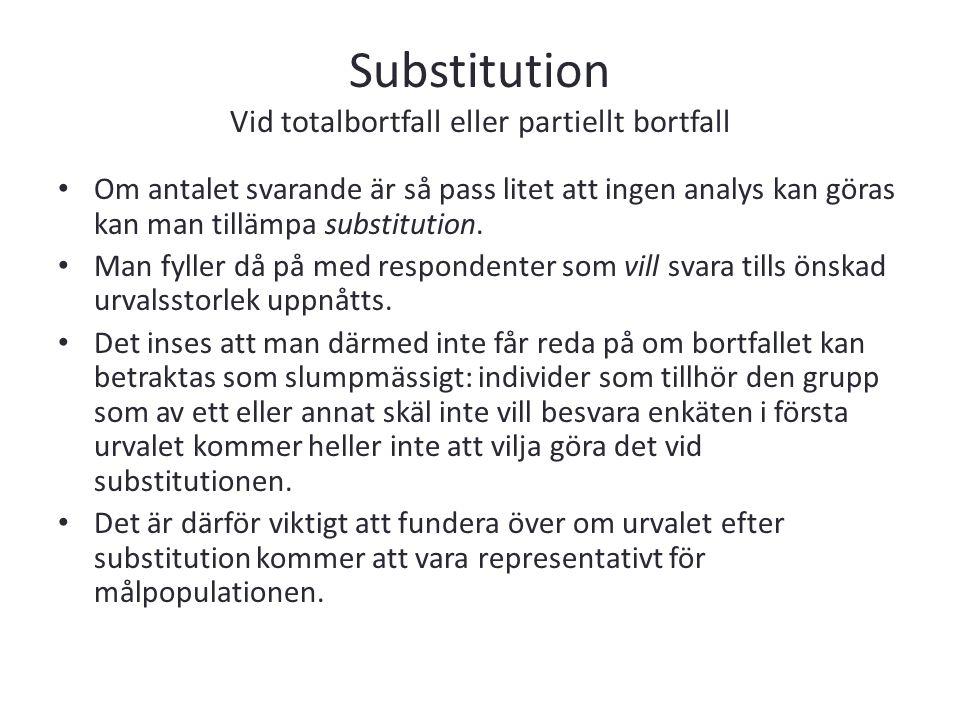 Substitution Vid totalbortfall eller partiellt bortfall Om antalet svarande är så pass litet att ingen analys kan göras kan man tillämpa substitution.