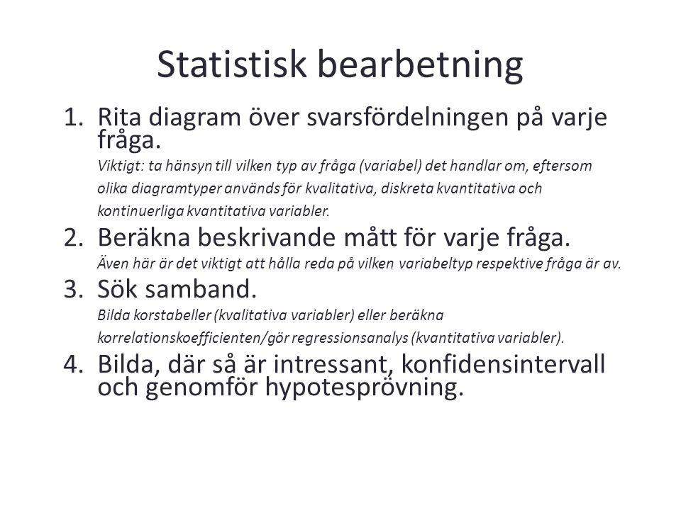 Statistisk bearbetning 1.Rita diagram över svarsfördelningen på varje fråga. Viktigt: ta hänsyn till vilken typ av fråga (variabel) det handlar om, ef