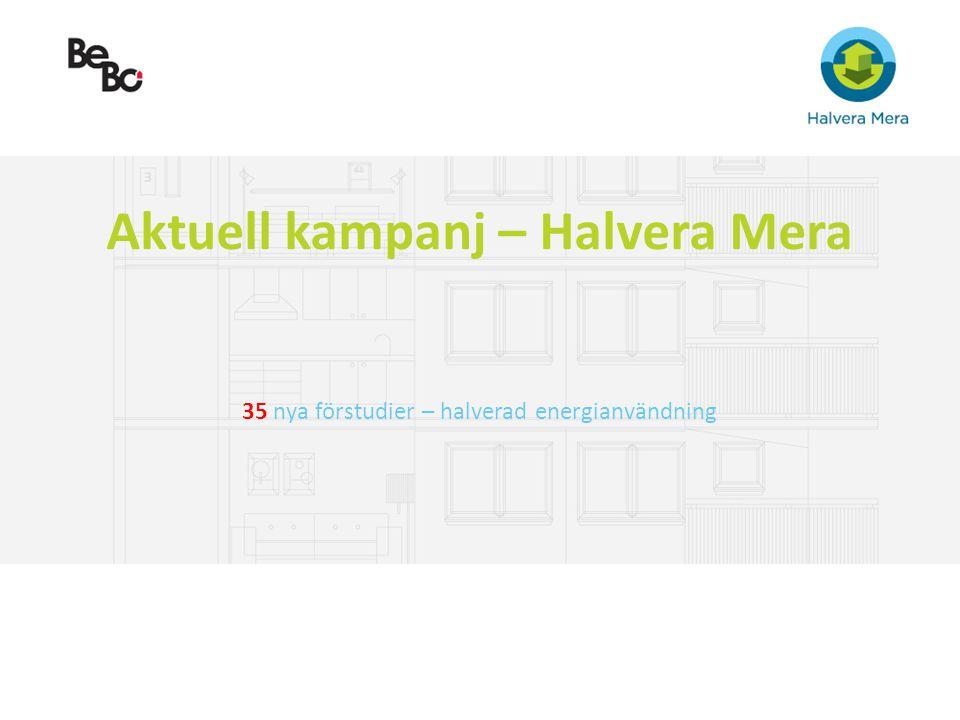 Aktuell kampanj – Halvera Mera 35 nya förstudier – halverad energianvändning