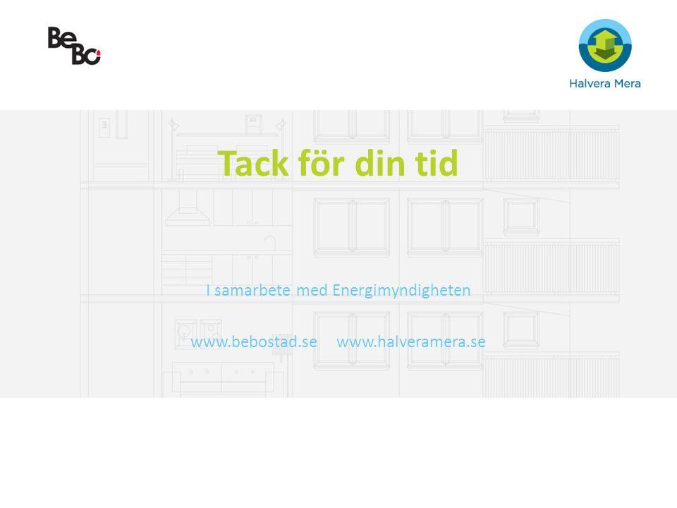 Tack för din tid I samarbete med Energimyndigheten www.bebostad.se www.halveramera.se
