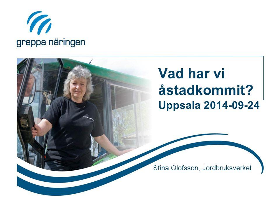 Vad har vi åstadkommit Uppsala 2014-09-24 Stina Olofsson, Jordbruksverket