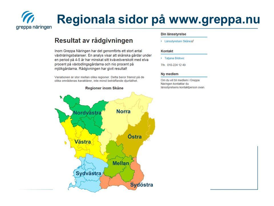 Regionala sidor på www.greppa.nu