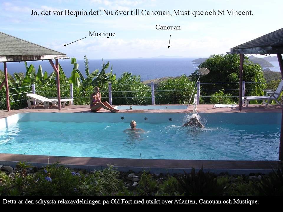 Ja, det var Bequia det! Nu över till Canouan, Mustique och St Vincent. Detta är den schyssta relaxavdelningen på Old Fort med utsikt över Atlanten, Ca