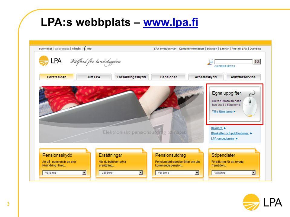 3 LPA:s webbplats – www.lpa.fiwww.lpa.fi