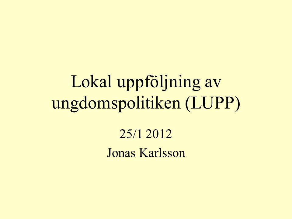 Lokal uppföljning av ungdomspolitiken (LUPP) 25/1 2012 Jonas Karlsson