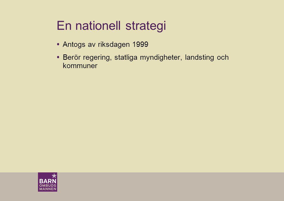 En nationell strategi  Antogs av riksdagen 1999  Berör regering, statliga myndigheter, landsting och kommuner
