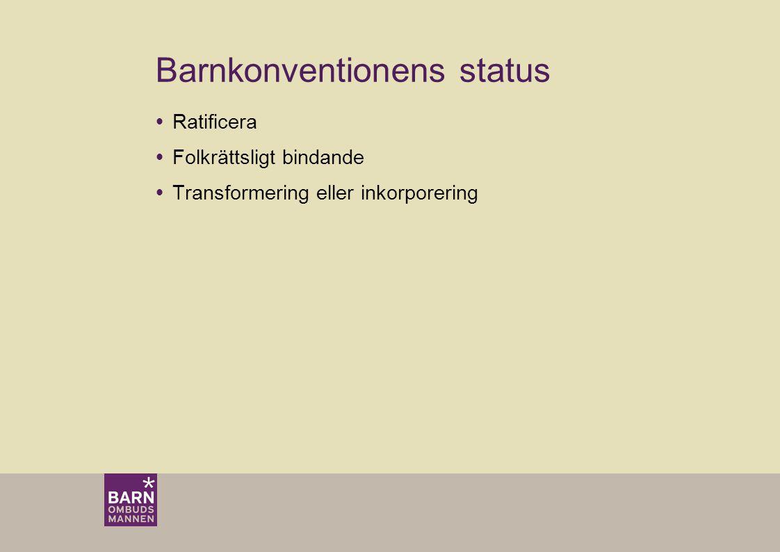 Barnkonventionens status  Ratificera  Folkrättsligt bindande  Transformering eller inkorporering