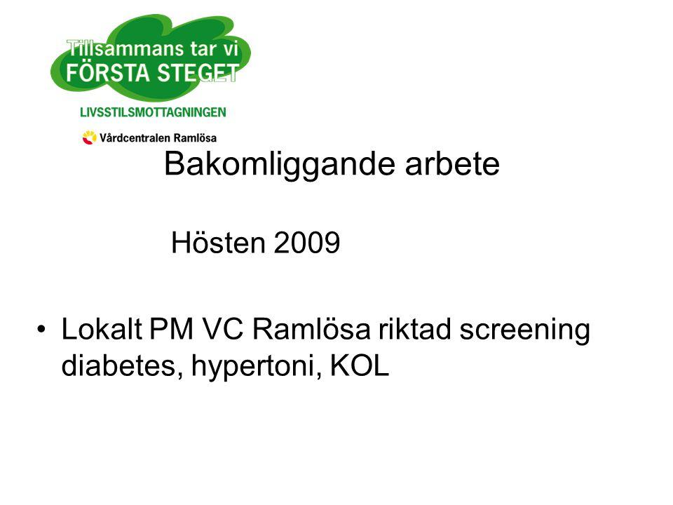 Bakomliggande arbete Hösten 2009 Lokalt PM VC Ramlösa riktad screening diabetes, hypertoni, KOL
