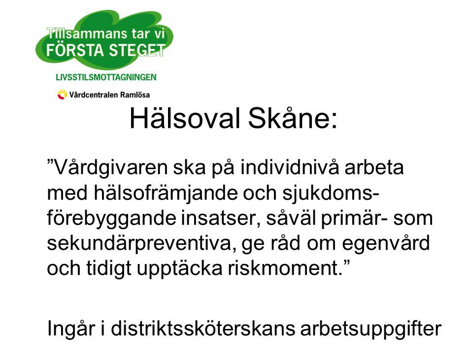 Hälsoval Skåne: Vårdgivaren ska på individnivå arbeta med hälsofrämjande och sjukdoms- förebyggande insatser, såväl primär- som sekundärpreventiva, ge råd om egenvård och tidigt upptäcka riskmoment. Ingår i distriktssköterskans arbetsuppgifter