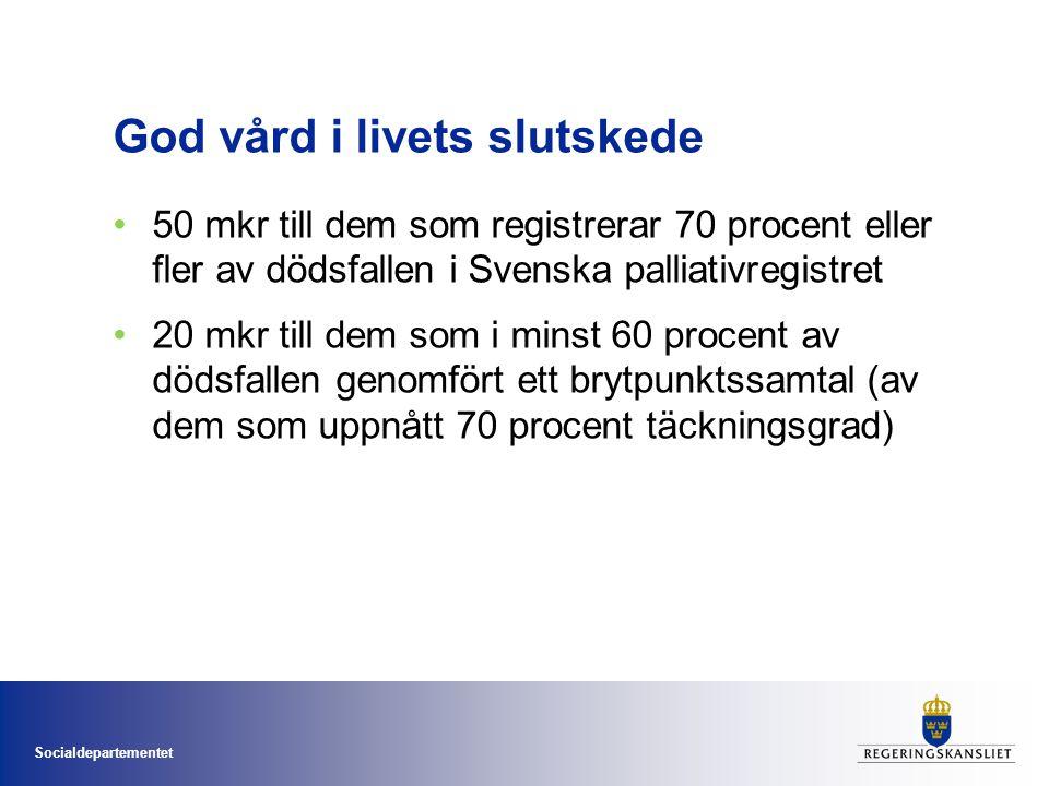 Socialdepartementet God vård i livets slutskede 50 mkr till dem som registrerar 70 procent eller fler av dödsfallen i Svenska palliativregistret 20 mk