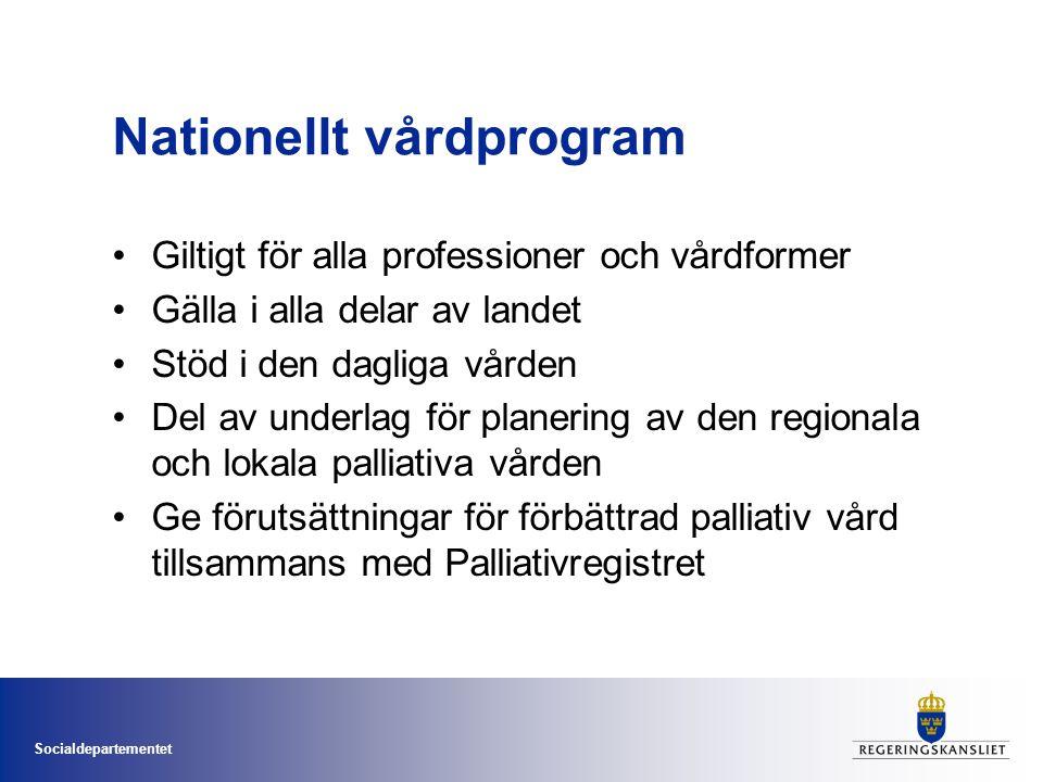 Socialdepartementet Nationellt vårdprogram Giltigt för alla professioner och vårdformer Gälla i alla delar av landet Stöd i den dagliga vården Del av