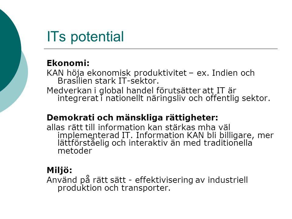 ITs potential Ekonomi: KAN höja ekonomisk produktivitet – ex. Indien och Brasilien stark IT-sektor. Medverkan i global handel förutsätter att IT är in