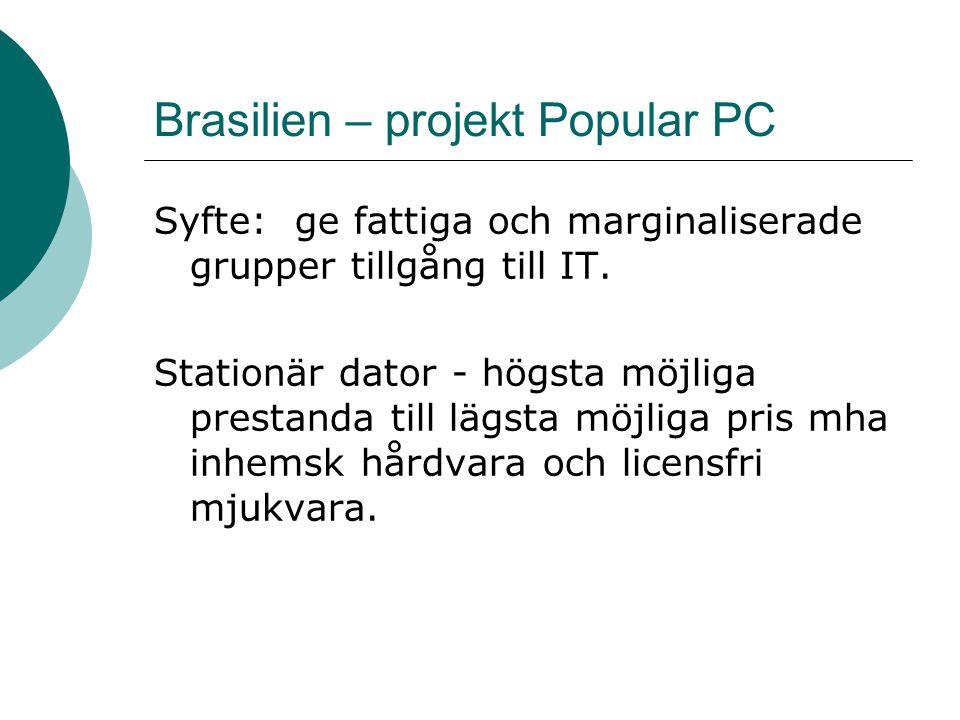 Brasilien – projekt Popular PC Syfte: ge fattiga och marginaliserade grupper tillgång till IT. Stationär dator - högsta möjliga prestanda till lägsta