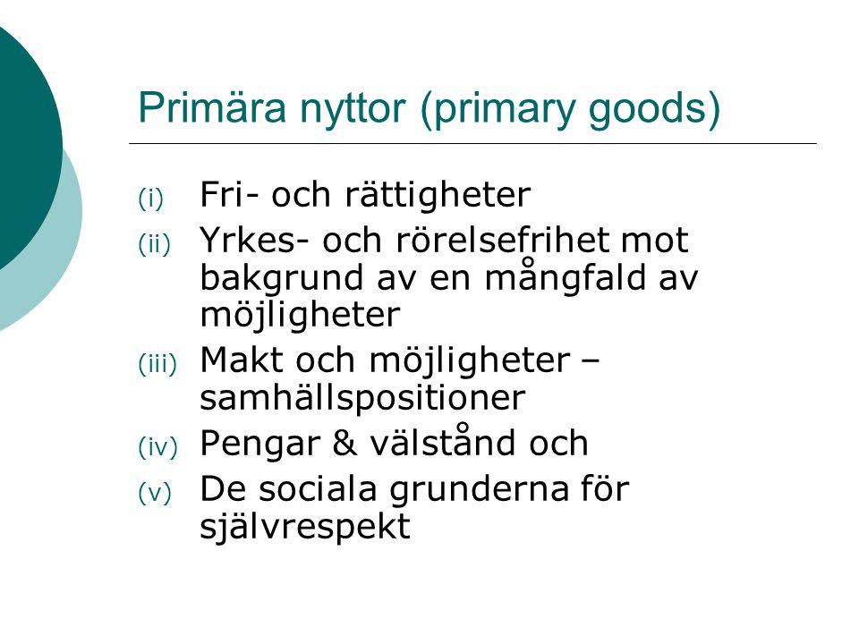 Primära nyttor (primary goods) (i) Fri- och rättigheter (ii) Yrkes- och rörelsefrihet mot bakgrund av en mångfald av möjligheter (iii) Makt och möjlig