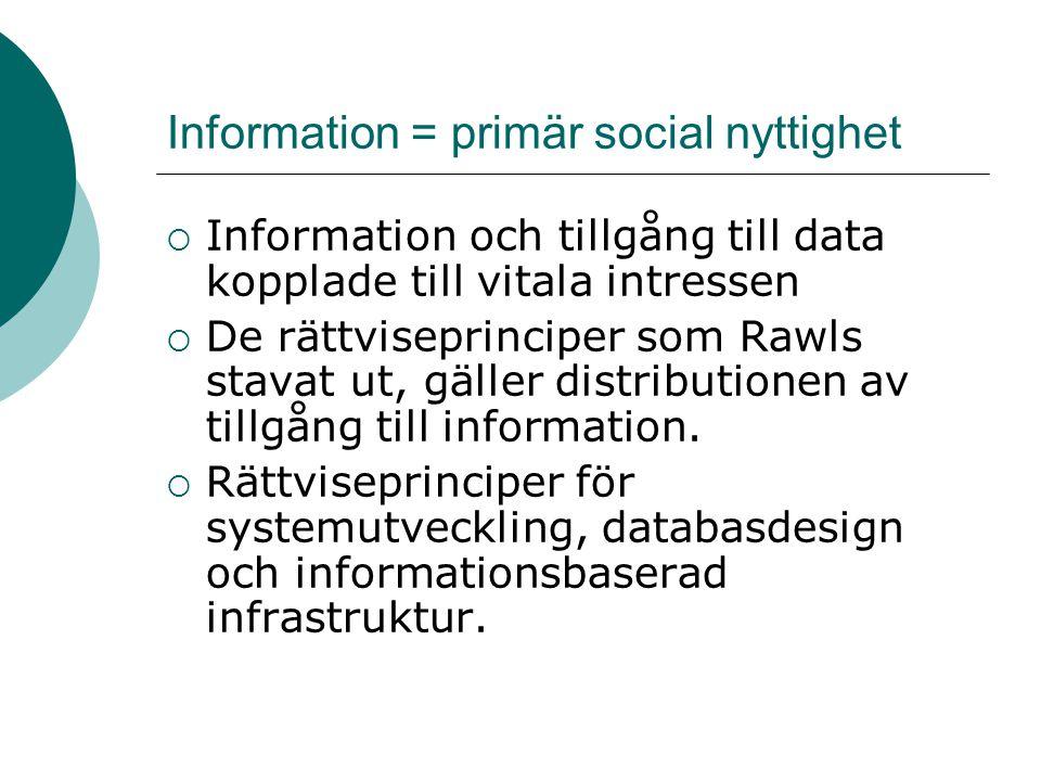 Information = primär social nyttighet  Information och tillgång till data kopplade till vitala intressen  De rättviseprinciper som Rawls stavat ut,