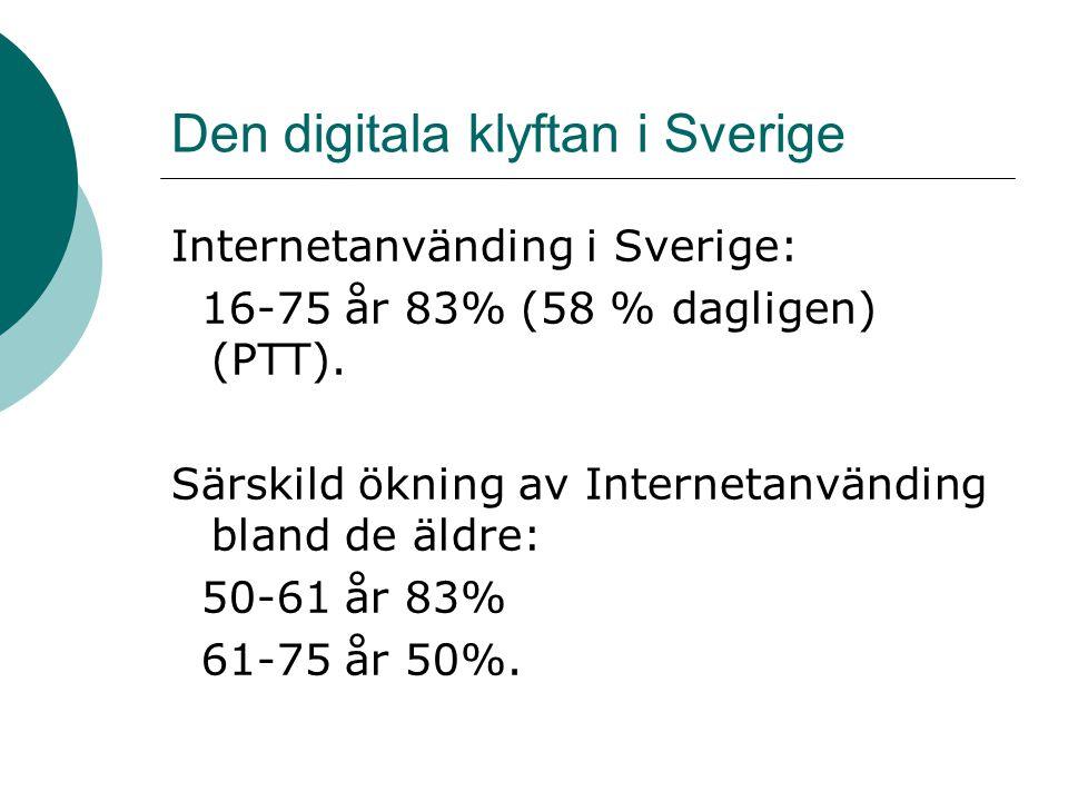 Den digitala klyftan i Sverige Internetanvänding i Sverige: 16-75 år 83% (58 % dagligen) (PTT). Särskild ökning av Internetanvänding bland de äldre: 5