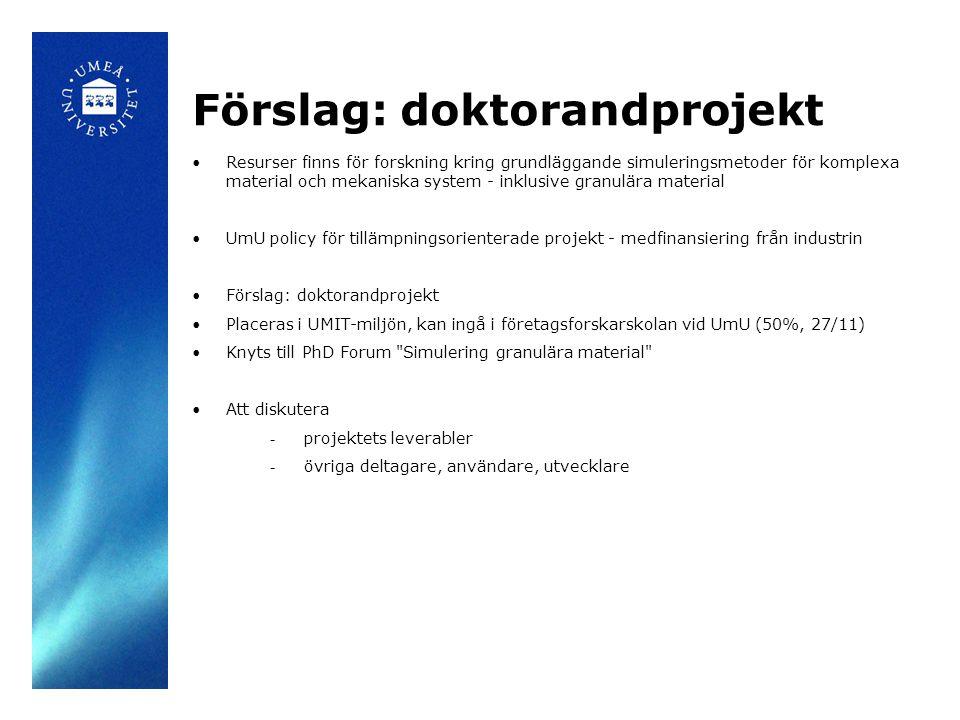 Förslag: doktorandprojekt Resurser finns för forskning kring grundläggande simuleringsmetoder för komplexa material och mekaniska system - inklusive granulära material UmU policy för tillämpningsorienterade projekt - medfinansiering från industrin Förslag: doktorandprojekt Placeras i UMIT-miljön, kan ingå i företagsforskarskolan vid UmU (50%, 27/11) Knyts till PhD Forum Simulering granulära material Att diskutera - projektets leverabler - övriga deltagare, användare, utvecklare