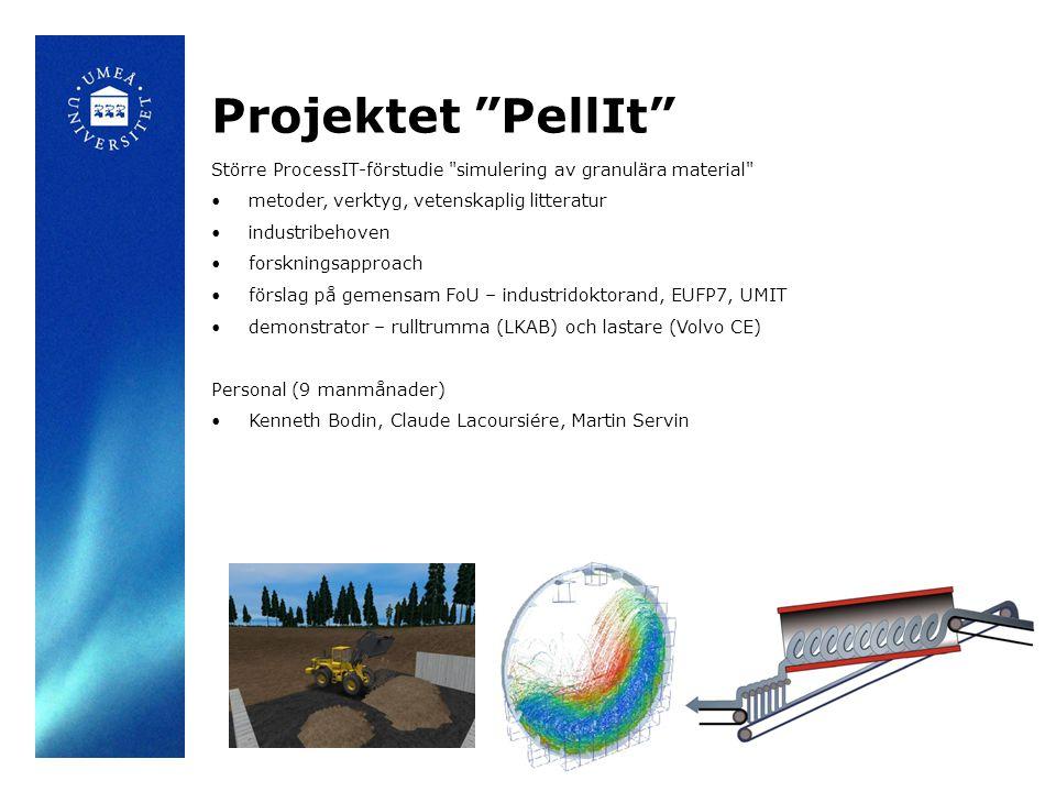 Projektet PellIt Större ProcessIT-förstudie simulering av granulära material metoder, verktyg, vetenskaplig litteratur industribehoven forskningsapproach förslag på gemensam FoU – industridoktorand, EUFP7, UMIT demonstrator – rulltrumma (LKAB) och lastare (Volvo CE) Personal (9 manmånader) Kenneth Bodin, Claude Lacoursiére, Martin Servin