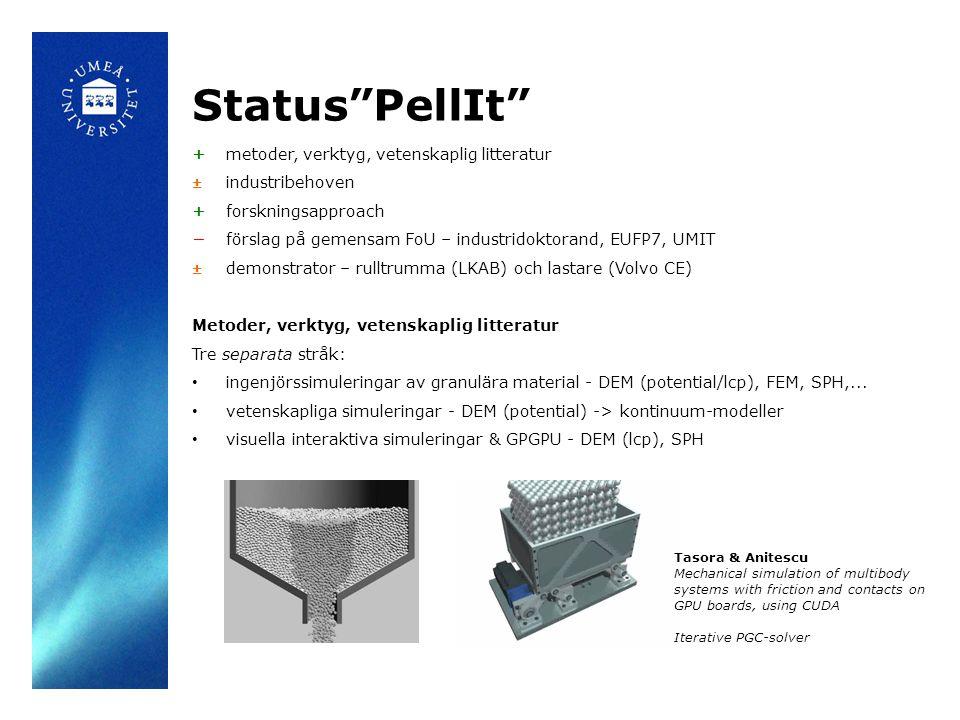 Status PellIt + metoder, verktyg, vetenskaplig litteratur ± industribehoven + forskningsapproach −förslag på gemensam FoU – industridoktorand, EUFP7, UMIT ± demonstrator – rulltrumma (LKAB) och lastare (Volvo CE) Metoder, verktyg, vetenskaplig litteratur Tre separata stråk: ingenjörssimuleringar av granulära material - DEM (potential/lcp), FEM, SPH,...