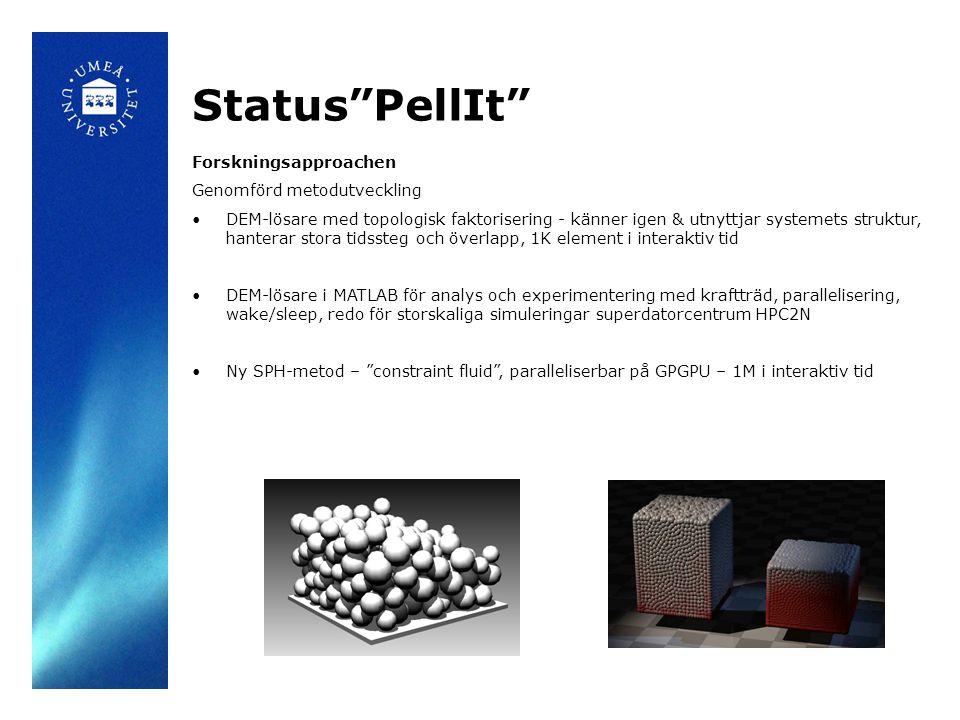 Forskningsapproachen Genomförd metodutveckling DEM-lösare med topologisk faktorisering - känner igen & utnyttjar systemets struktur, hanterar stora tidssteg och överlapp, 1K element i interaktiv tid DEM-lösare i MATLAB för analys och experimentering med kraftträd, parallelisering, wake/sleep, redo för storskaliga simuleringar superdatorcentrum HPC2N Ny SPH-metod – constraint fluid , paralleliserbar på GPGPU – 1M i interaktiv tid Status PellIt