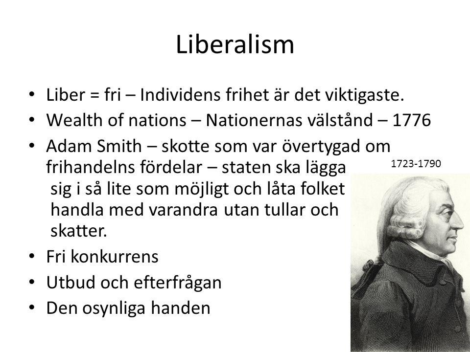 Liberalism Liber = fri – Individens frihet är det viktigaste. Wealth of nations – Nationernas välstånd – 1776 Adam Smith – skotte som var övertygad om
